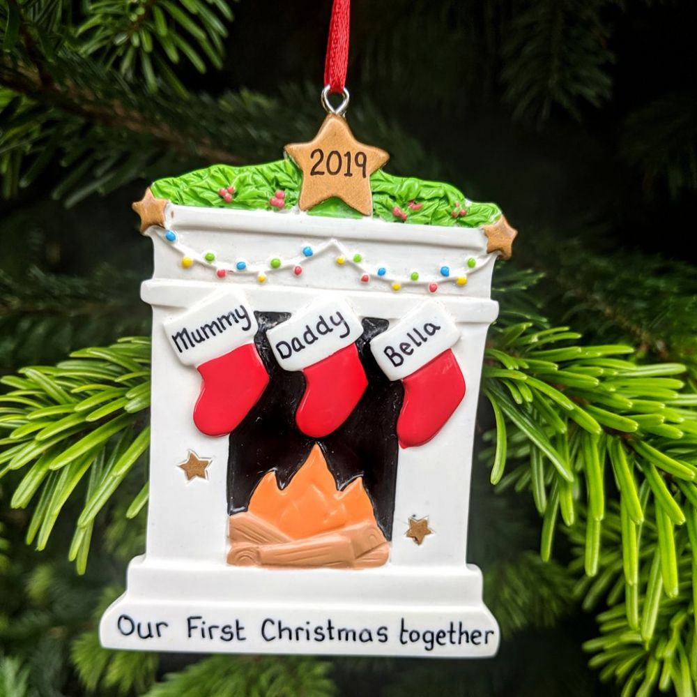Personalised Fireplace 3 Stockings Christmas Tree Decoration